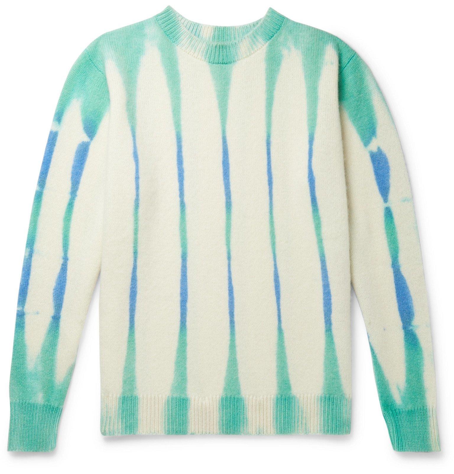 Photo: The Elder Statesman - Tie-Dyed Cashmere Sweater - Blue