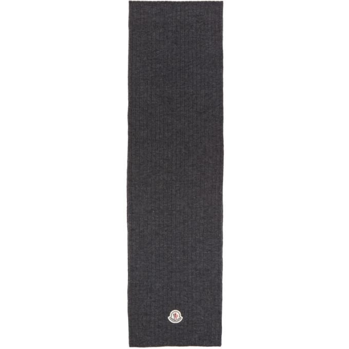 Photo: Moncler Grey Wool Ribbed Scarf