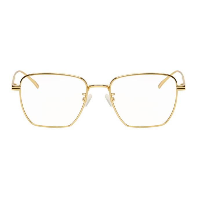 Photo: Bottega Veneta Gold Square Glasses