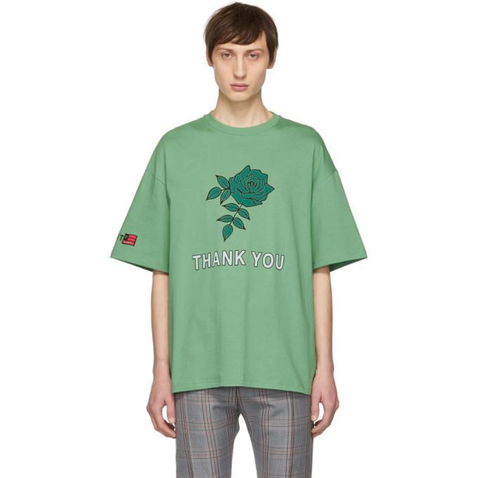Photo: Lanvin Green Oversized Thank You Rose T-Shirt