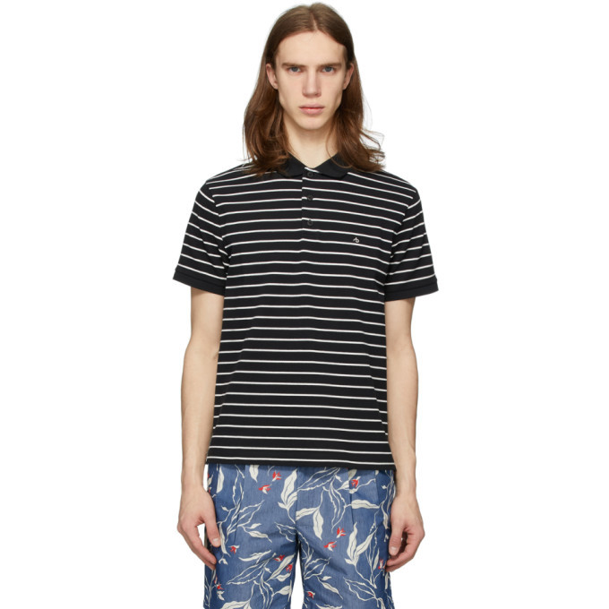 Photo: rag and bone Black and White Striped Pique Polo