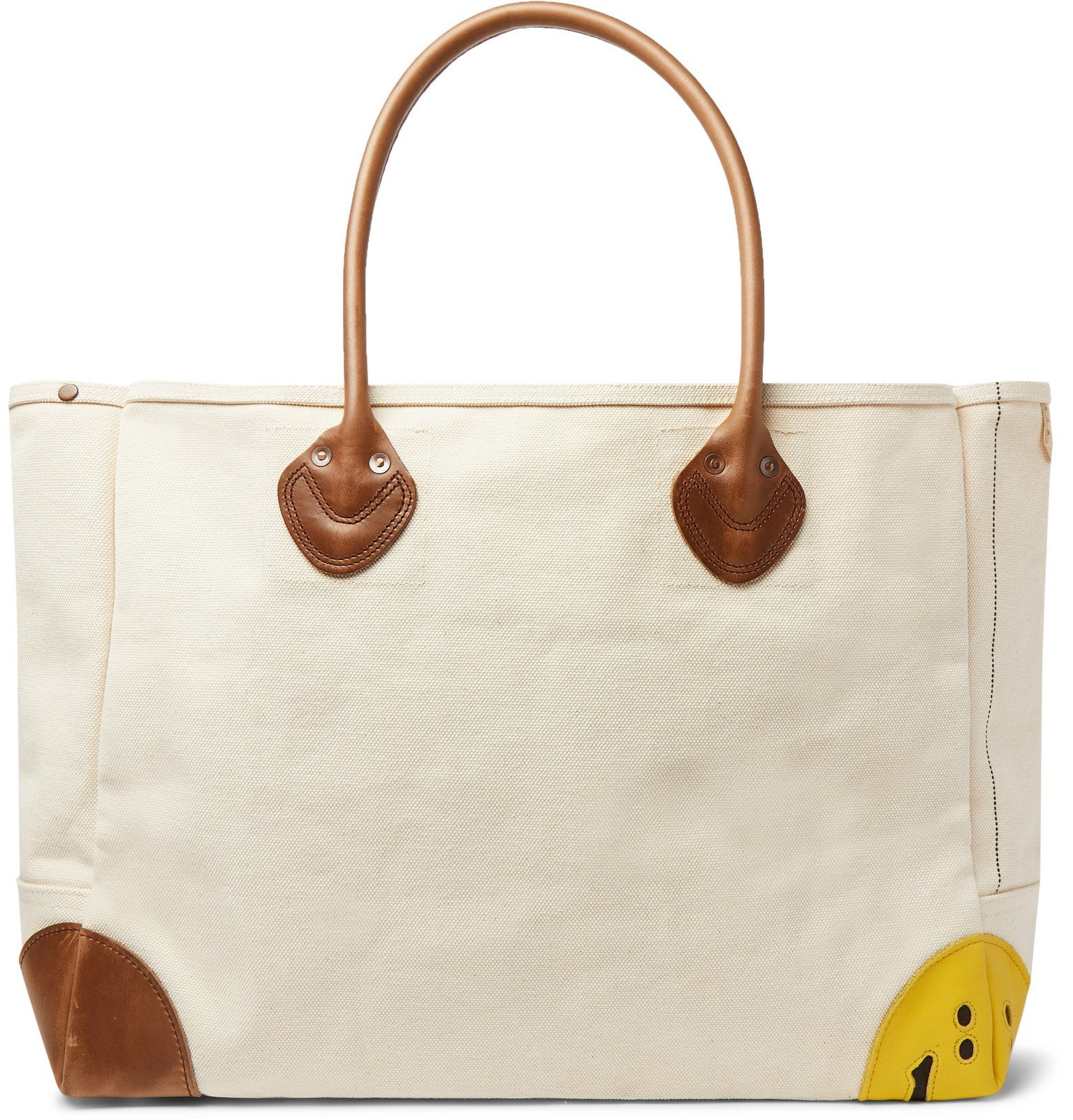 KAPITAL - Smiley Leather-Trimmed Canvas Tote Bag - Neutrals