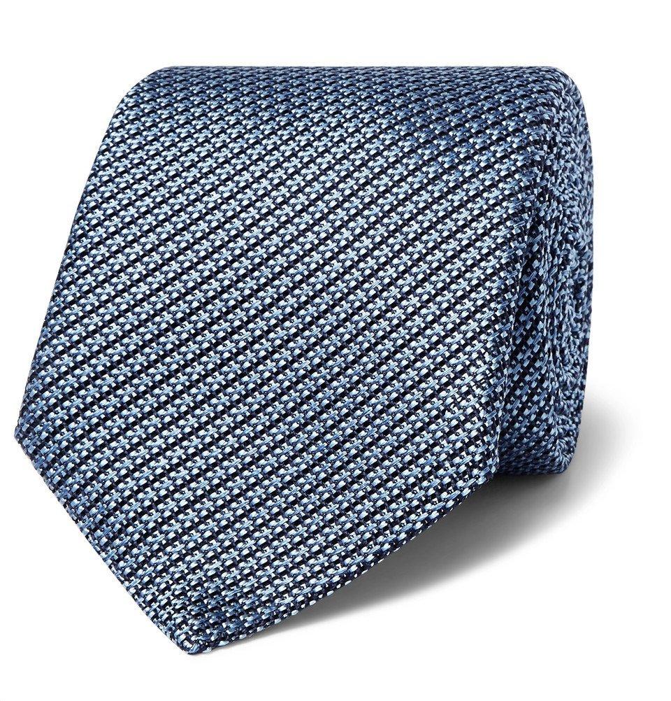 Photo: Canali - 8cm Woven Silk Tie - Blue