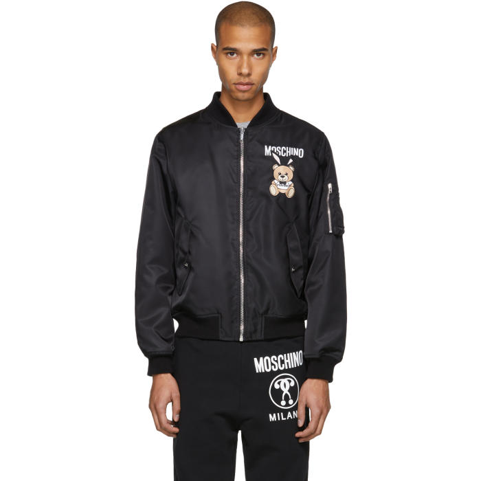 Photo: Moschino Black Toy Bear Playboy Bomber Jacket