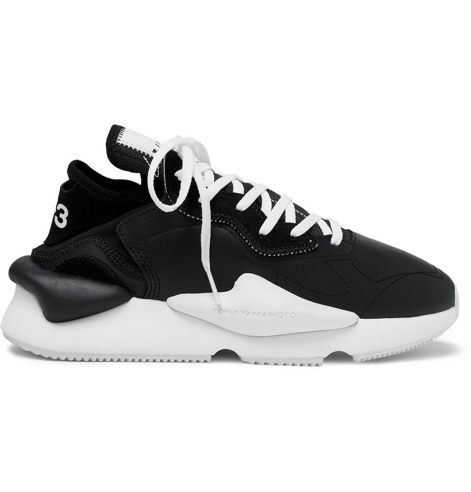 Photo: Y-3 - Kaiwa Suede-Trimmed Leather and Neoprene Sneakers - Black