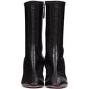 Amina Muaddi Black Croc Hannah Boots