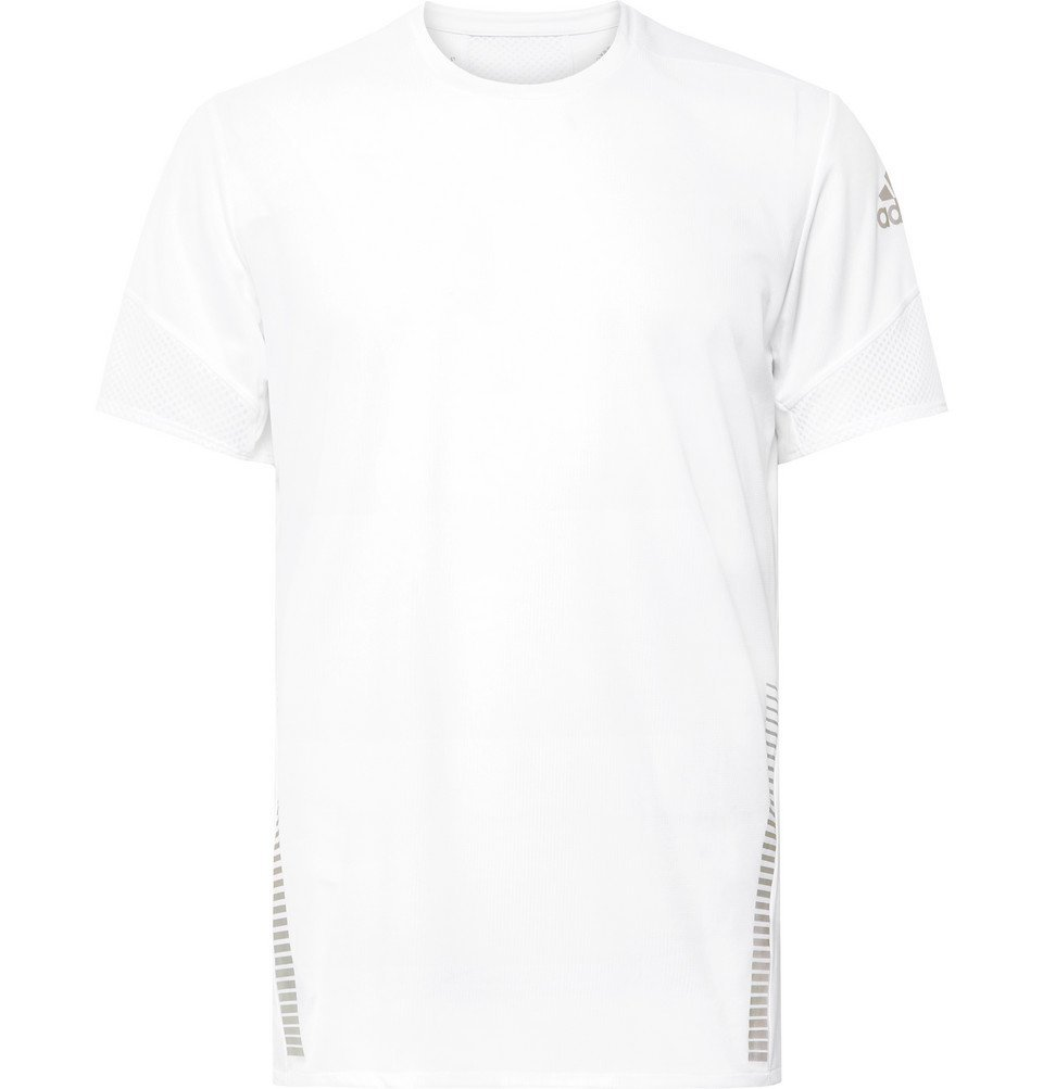 Photo: Adidas Sport - 25/7 Rise Up N Run Parley Mesh-Panelled Climacool T-Shirt - White