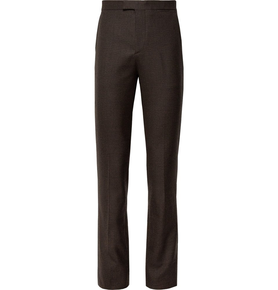 Raf Simons - Brown Slim-Fit Checked Wool Suit Trousers - Brown