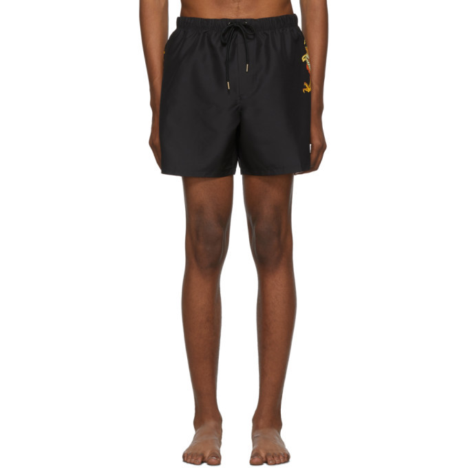Photo: Versace Underwear Black Long Dragon Swim Shorts