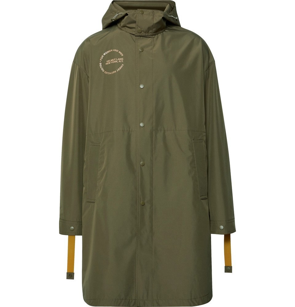 Photo: Helmut Lang - Oversized Logo-Print Recycled Shell Hooded Parka - Green