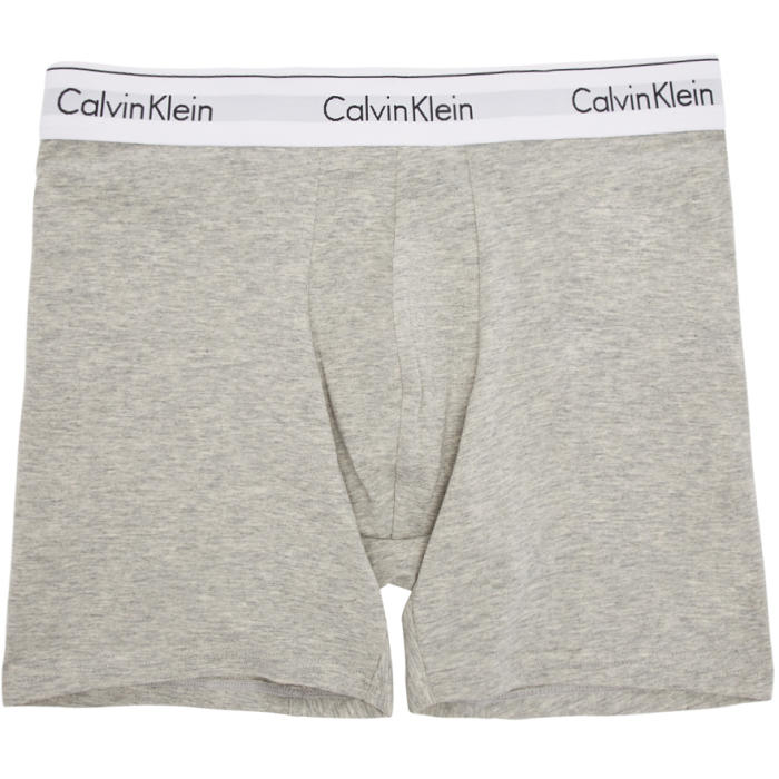 Photo: Calvin Klein Underwear Two-Pack Black and Grey Low-Rise Boxer Briefs