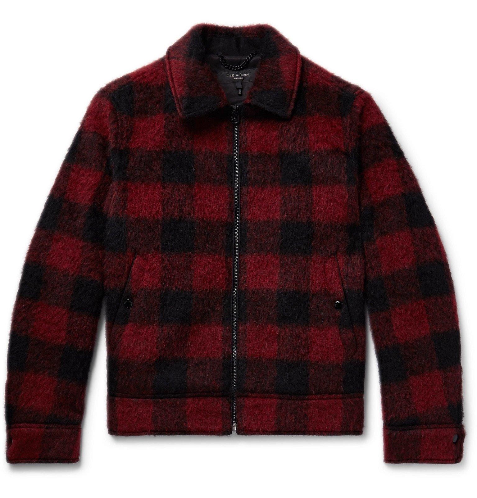 Photo: rag & bone - Buffalo Checked Brushed Woven Jacket - Red