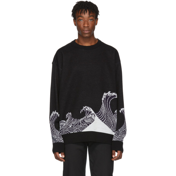 Photo: D.Gnak by Kang.D Black Jacquard Wave Sweater