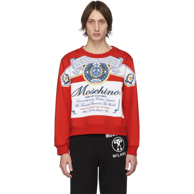 Photo: Moschino Red and White Budweiser Edition Logo Sweatshirt