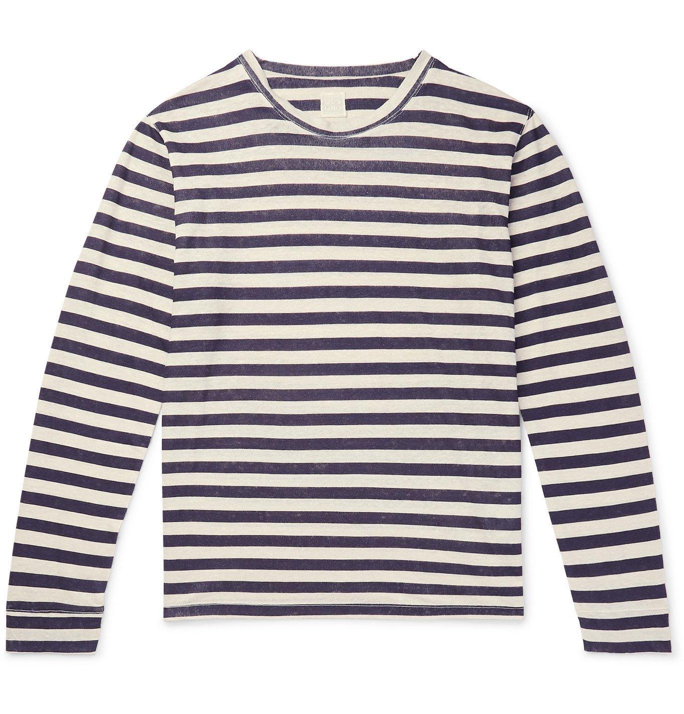 Photo: 120% - Striped Linen T-Shirt - Blue