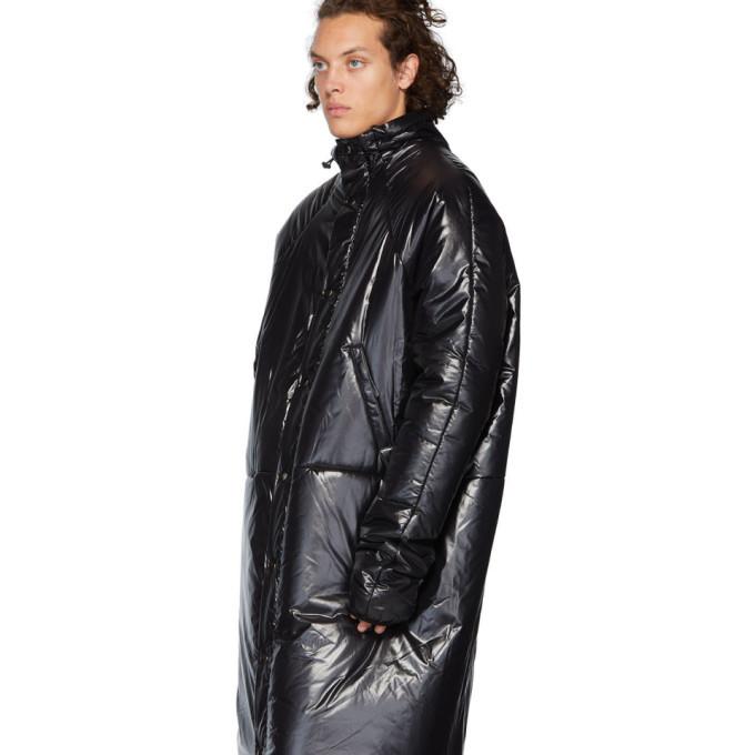 Kassl Editions Black Nylon Below The Knee Puffer Coat