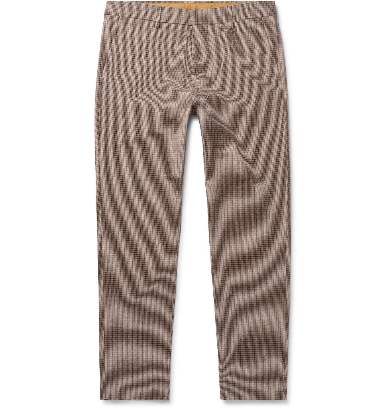 Photo: NN07 - Cade Tapered Checked Cotton-Blend Flannel Trousers - Brown