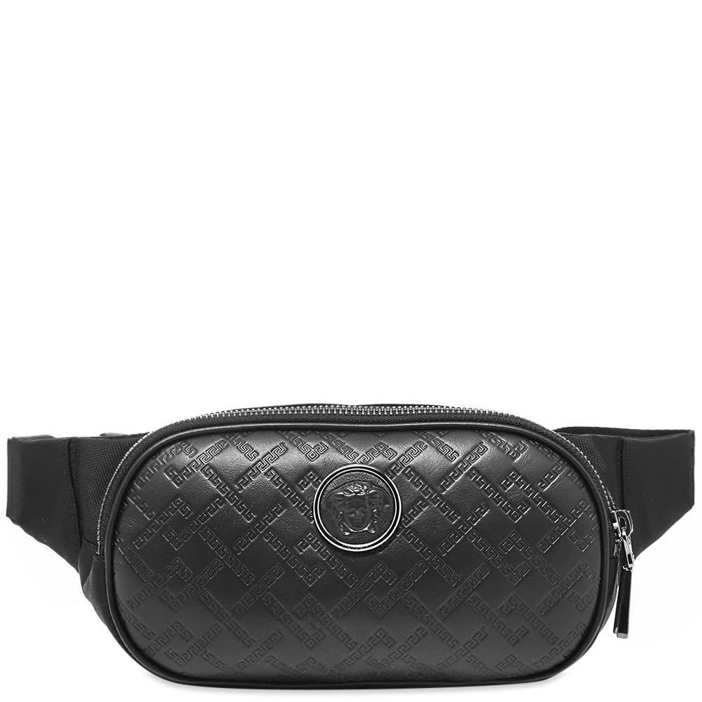 Photo: Versace Leather Embossed Greek Logo Waist Bag
