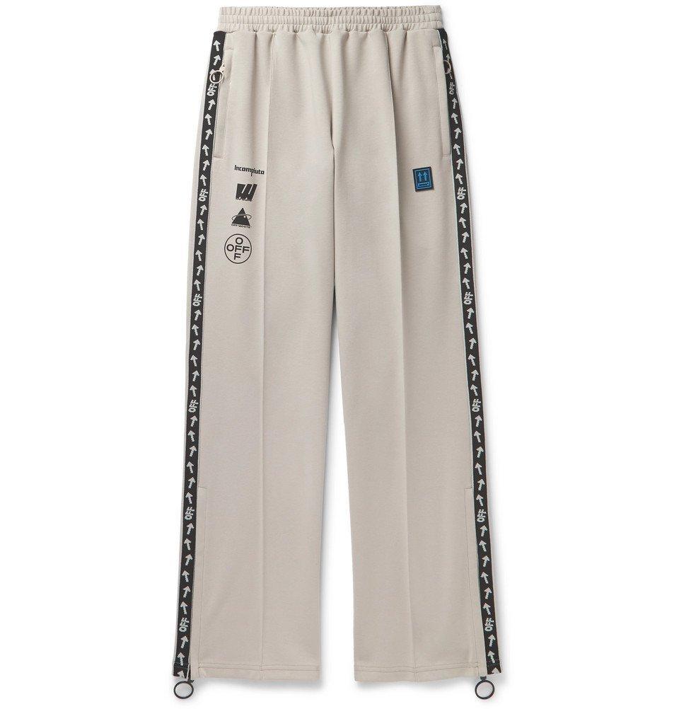 Photo: Off-White - Glittered Webbing-Trimmed Cotton-Blend Track Pants - Beige