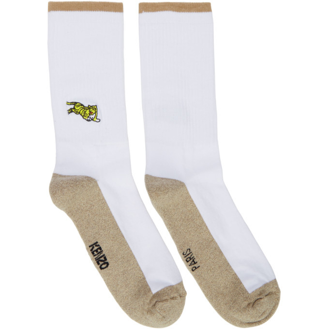 Photo: Kenzo White and Beige Jumping Tiger Socks