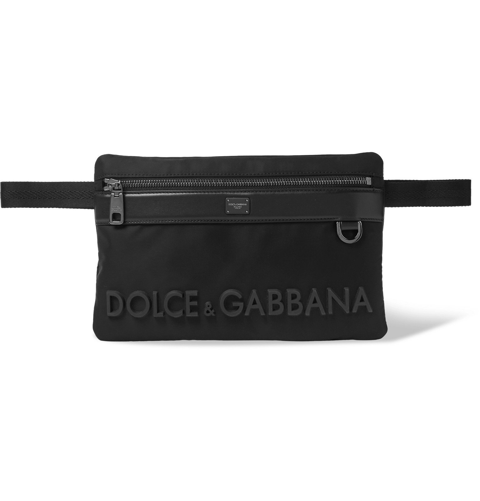 Photo: Dolce & Gabbana - Logo-Appliquéd Leather-Trimmed Nylon Belt Bag - Black