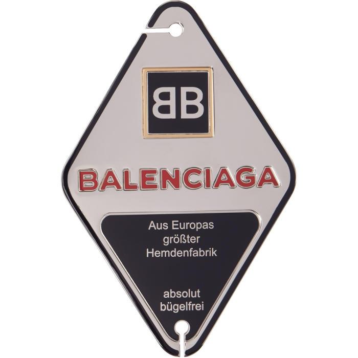 Photo: Balenciaga Silver and Navy Diamond Stamp Badge Brooch