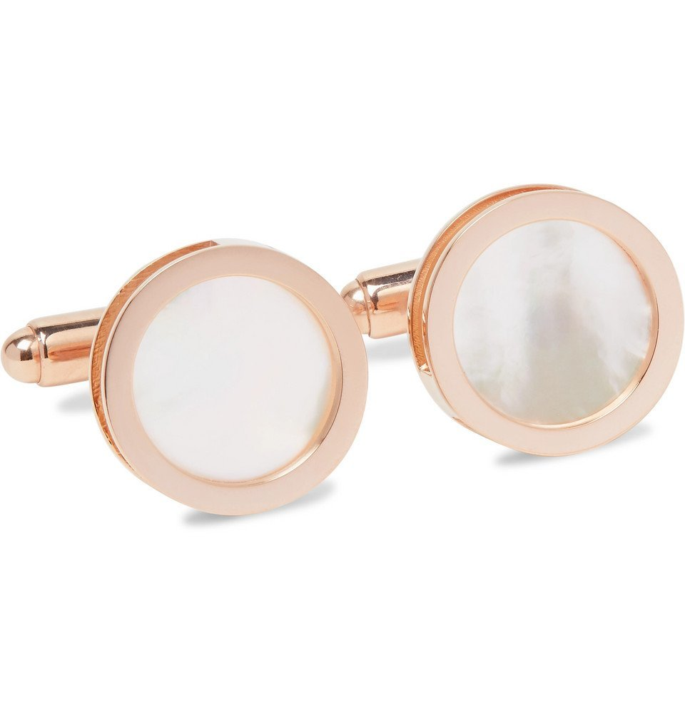 Photo: Lanvin - Rose Gold-Plated Onyx and Mother-of-Pearl Cufflinks - Rose gold