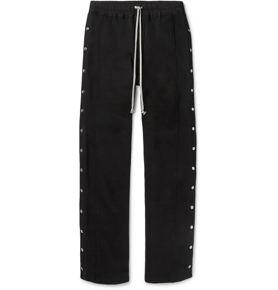 Photo: Rick Owens - Felpa Wide-Leg Snap-Detailed Cotton-Jersey Drawstring Trousers - Black
