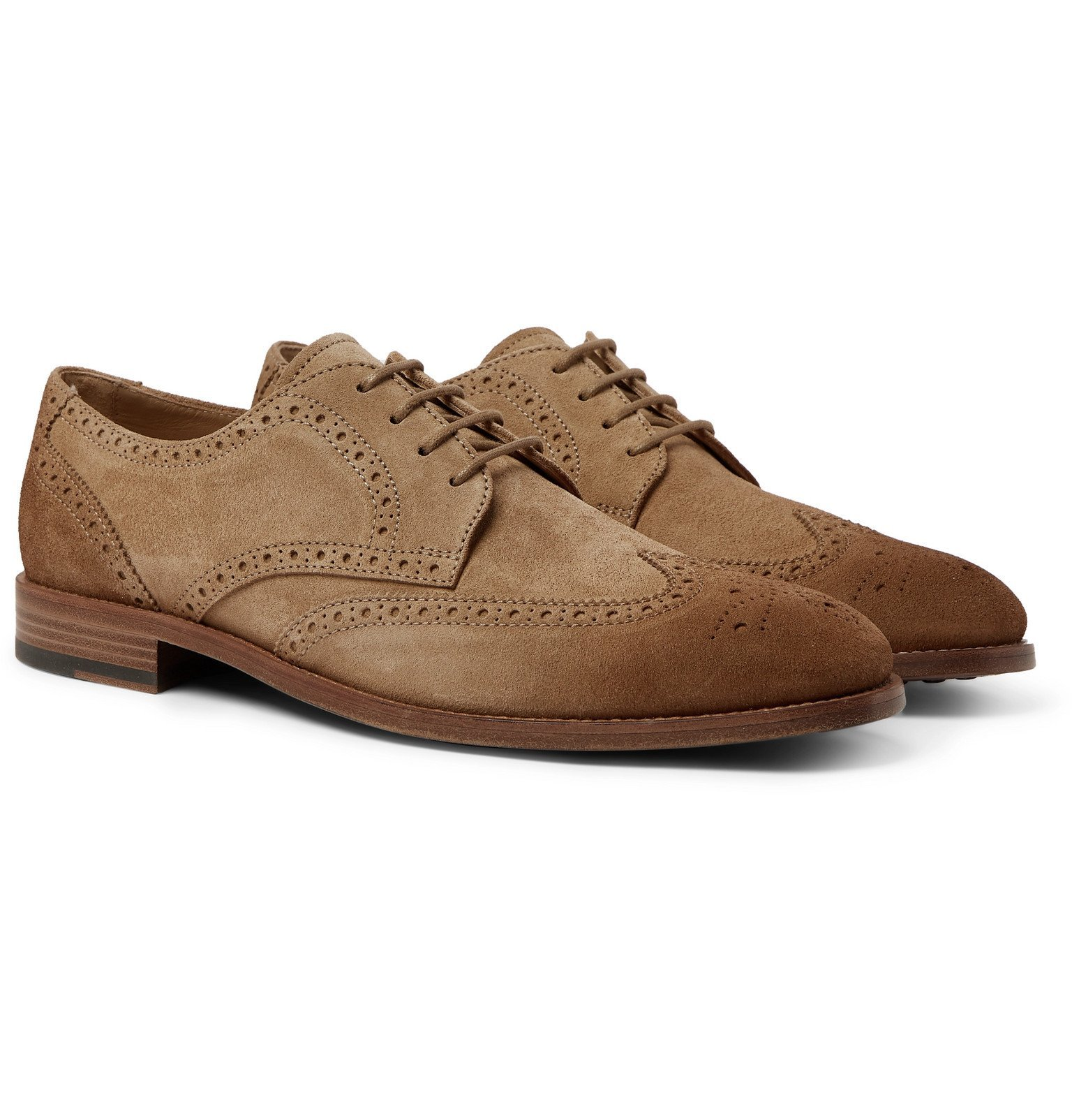 Photo: Tod's - Gommino Burnished-Suede Brogues - Brown