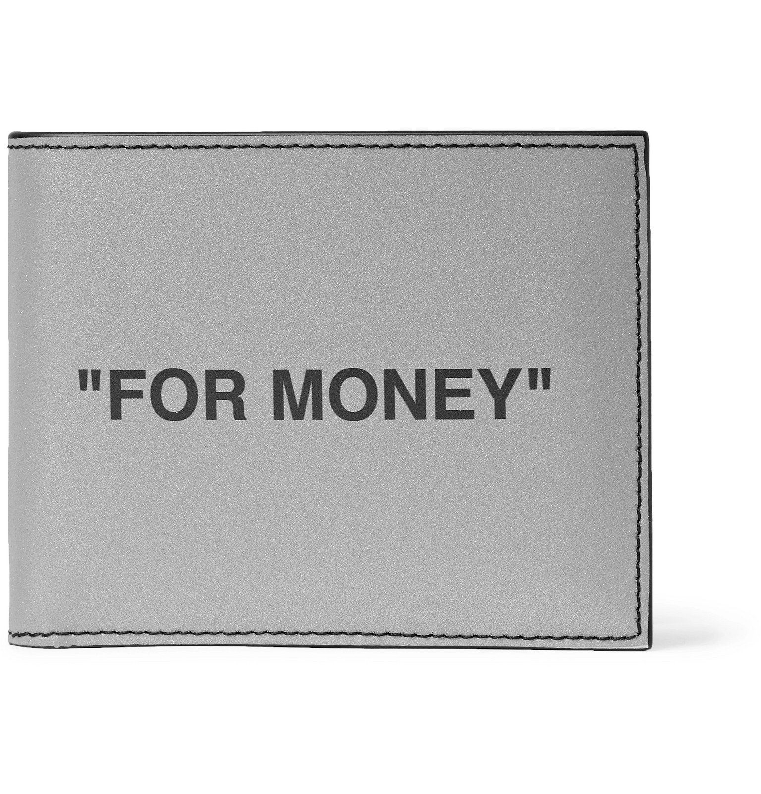 Photo: Off-White - Printed Reflective Leather Billfold Wallet - Silver