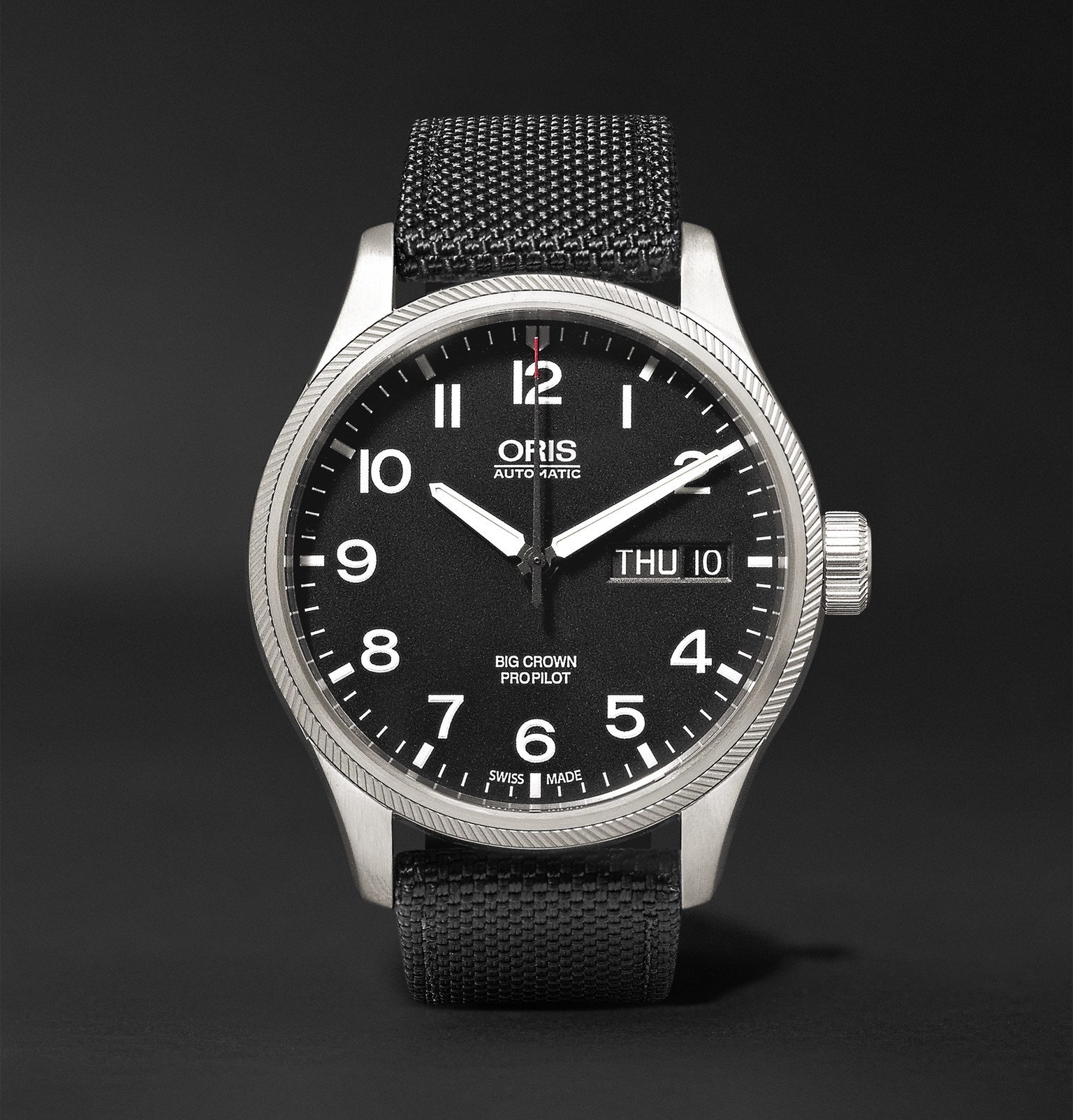 Photo: Oris - Big Crown ProPilot Day-Date 45mm Stainless Steel and Canvas Watch, Ref. No. 752 7698 4164FC - Black