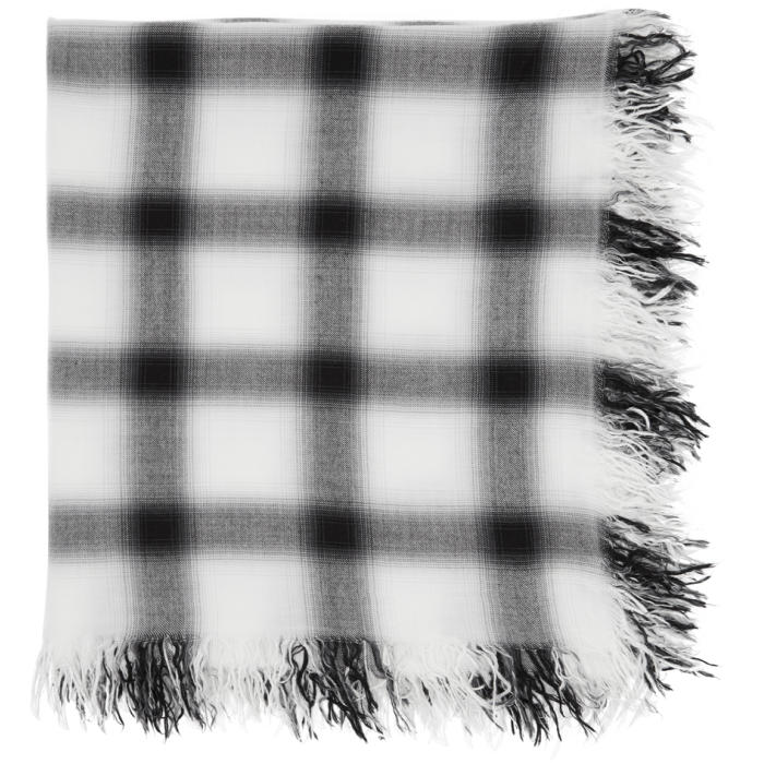 Photo: Attachment White and Black Rayon Silk Check Scarf