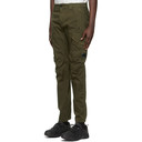 C.P. Company Green Stretch Sateen Garment-Dyed Utility Cargo Pants