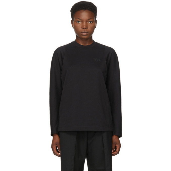 Photo: Y-3 Black Classic Tailored Long Sleeve T-Shirt