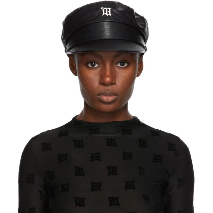 Photo: MISBHV Black Faux-Leather Monogram Gavroche Hat