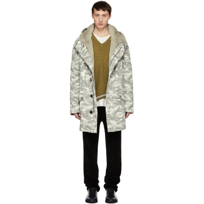 Photo: Yves Salomon Grey Camo Cotton Parka