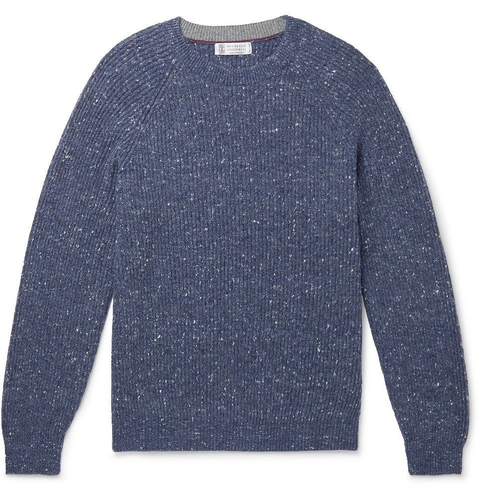 Photo: Brunello Cucinelli - Ribbed Mélange Wool-Blend Sweater - Navy