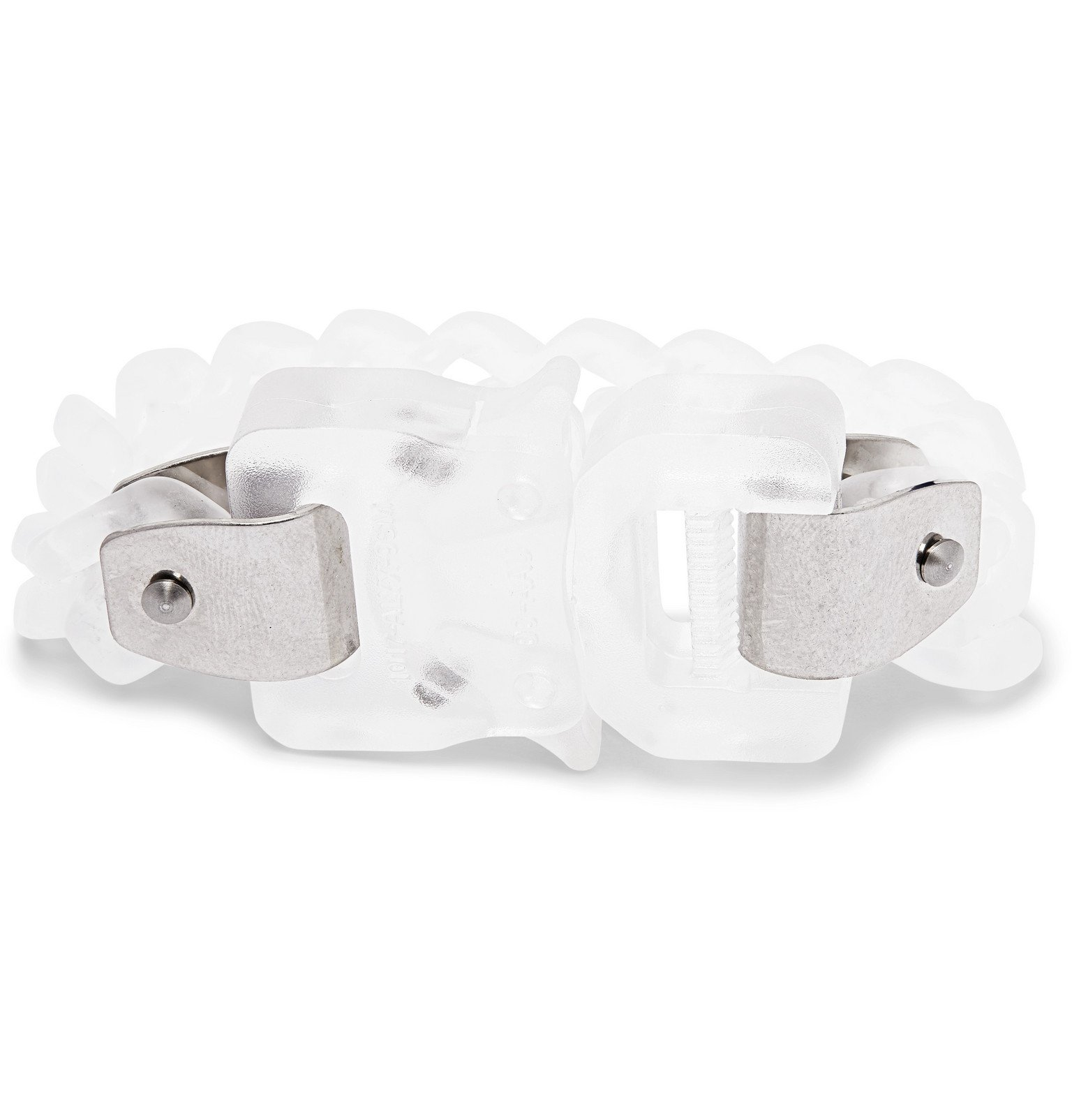 Photo: 1017 ALYX 9SM - Transparent Moulded-Nylon and Burnished Silver-Tone Bracelet - Neutrals