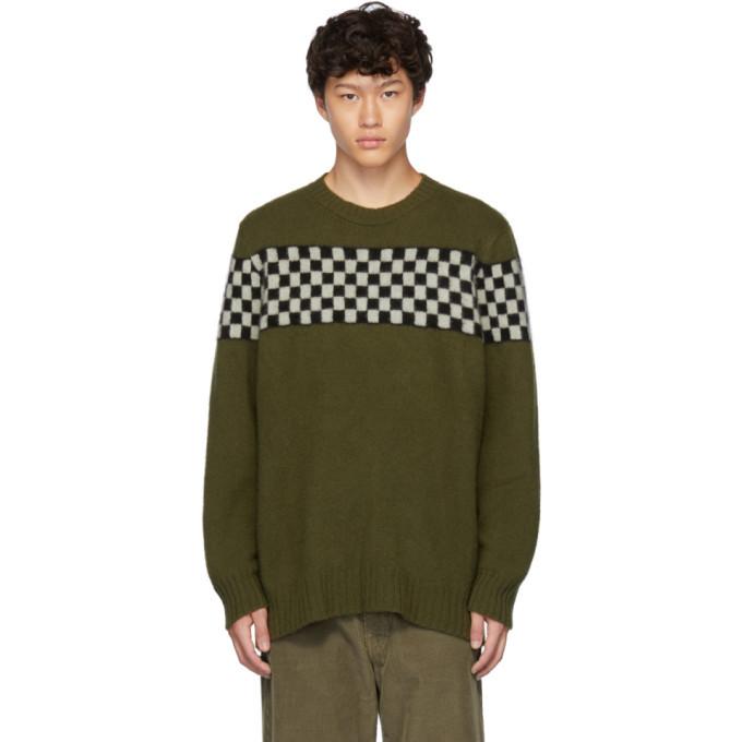 The Elder Statesman Green Checkered Striped Crewneck Sweater
