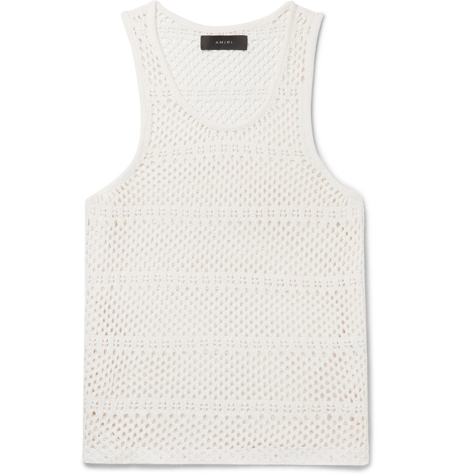 Photo: AMIRI - Crocheted Cotton and Cashmere-Blend Tank Top - Neutrals
