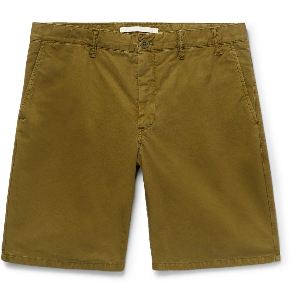 Photo: Norse Projects - Aros Slim-Fit Garment-Dyed Cotton-Twill Shorts - Men - Green