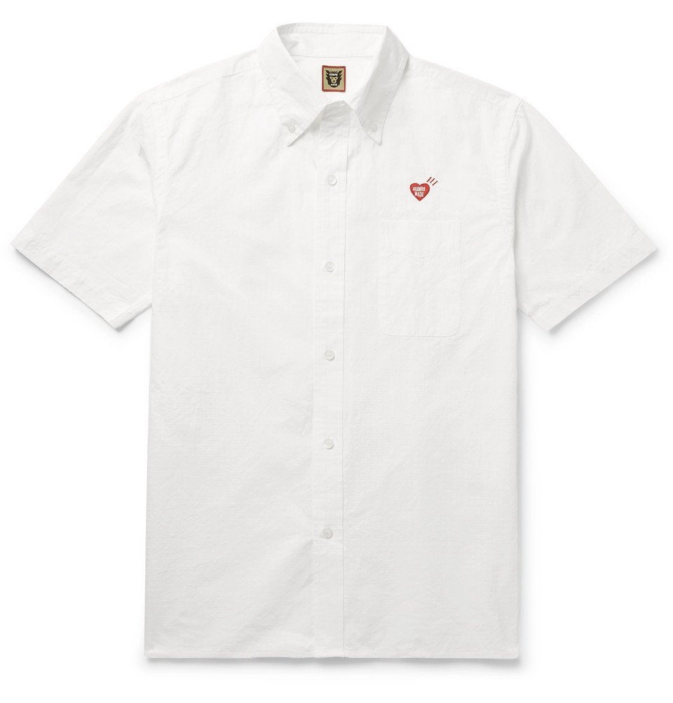 Photo: Human Made - Button-Down Collar Logo-Embroidered Cotton-Ripstop Shirt - White