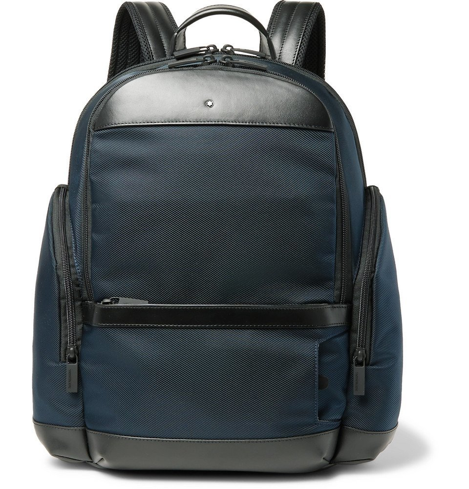 Photo: Montblanc - Nightflight Leather-Trimmed Canvas Backpack - Blue