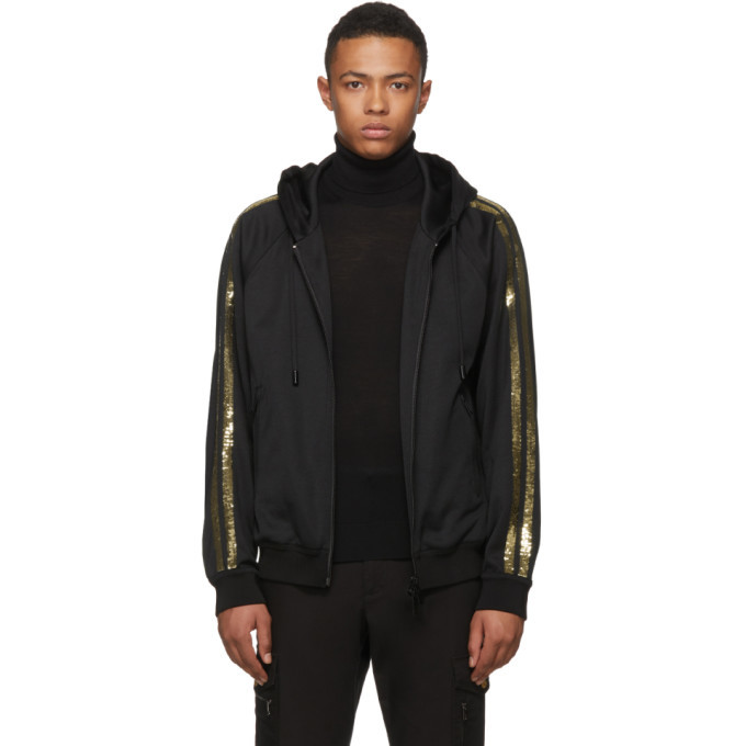 Photo: Dsquared2 Black and Gold Sequin Zip Hoodie