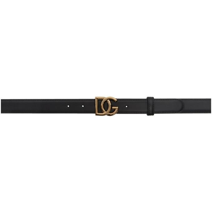 Dolce and Gabbana Black DG Millennials Logo Belt