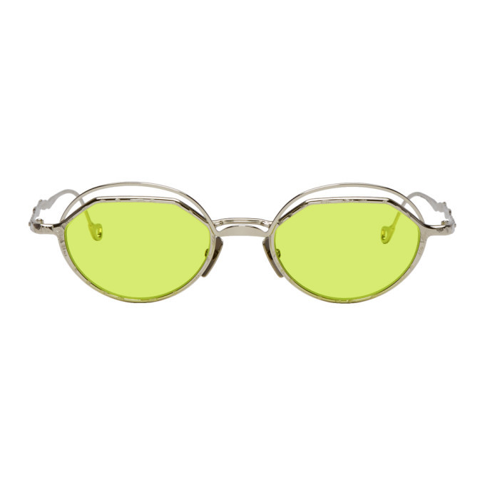 Photo: Kuboraum Silver and Green H70 SI Sunglasses
