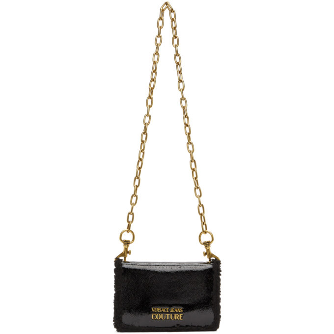 Versace Jeans Couture Black Faux-Leather Sherpa Wallet Bag