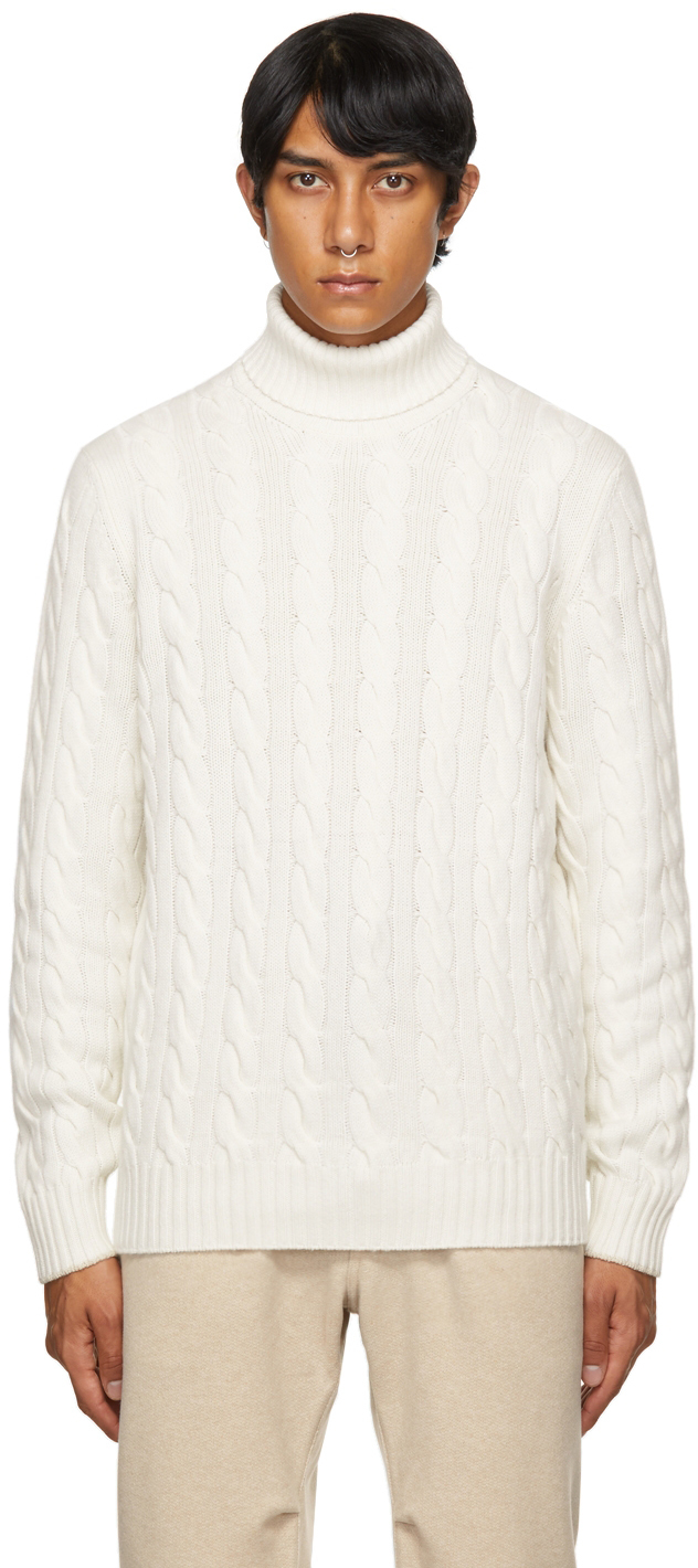 Photo: Brunello Cucinelli White Wool Cable Knit Turtleneck