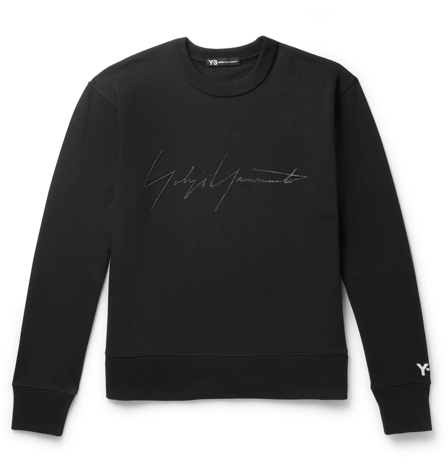 Photo: Y-3 - Distressed Logo-Print Loopback Cotton-Jersey Sweatshirt - Black