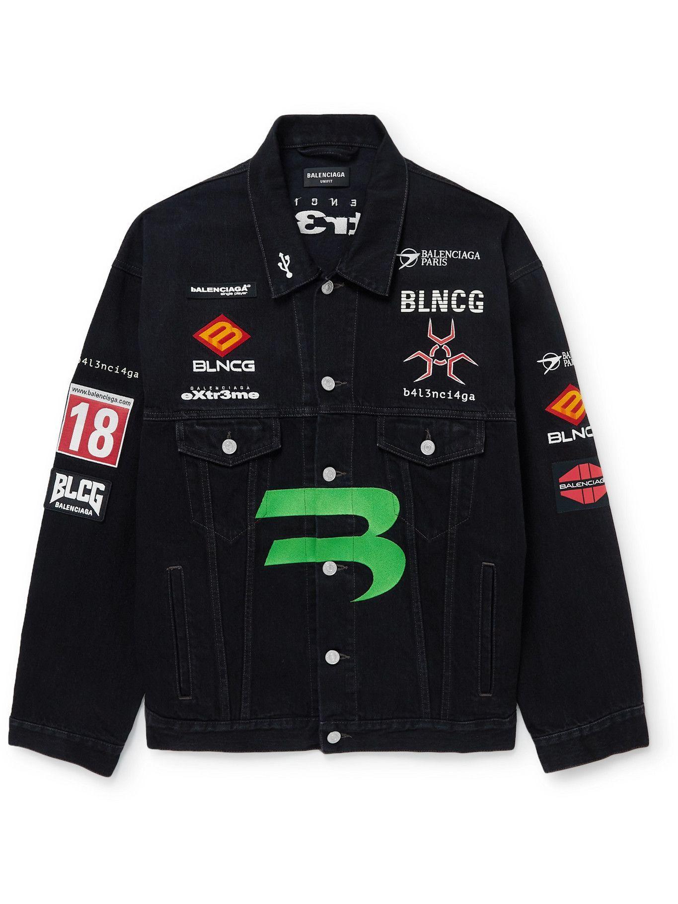 Photo: Balenciaga - Logo-Embroidered Printed Denim Trucker Jacket - Black